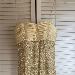 Gold sequined prom dress